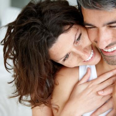 Loving mature couple enjoying themselves